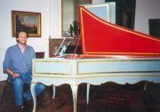 Marcelo visiting the Kenneth Gilbert collection - Chartres Museum - 2000. Harpsichord constructed by Jan Couchet (1671) enlarged by Blanchet (ca. 1759) and P. Taskin (1778)