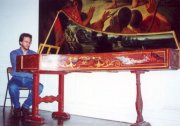 "Marcelo visiting the Kenneth Gilbert collection - Chartres Museum - 2000. Italian harpsichord ""F. A. 1677"""